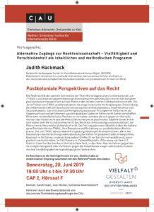 Vortrag: Postkoloniale Perspektiven auf das Recht @ CAP2 – Hörsaal F
