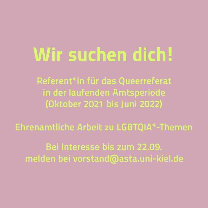 Wir suchen dich: Referent*in für das Queer-Referat